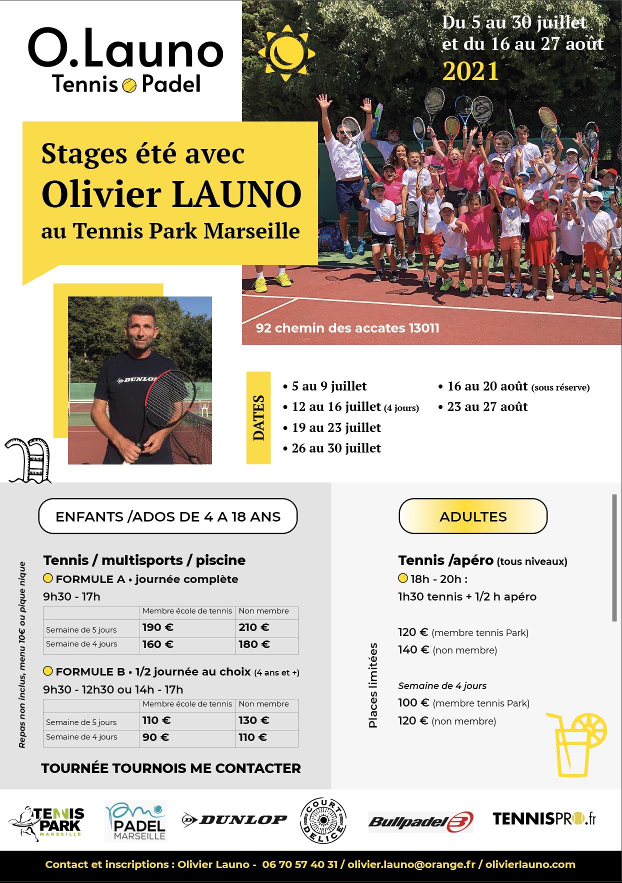 Stages été Olivier Launo - tennis park Marseille